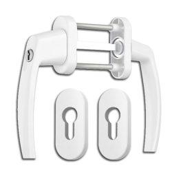 Victory erkélyajtó átmenő kilincs garnitúra Fehér kulcsos