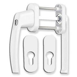 Victory erkélyajtó átmenő kilincs garnitúra Fehér kulcsos lapított