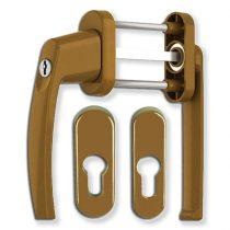 Victory erkélyajtó átmenő kilincs garnitúra Bronz kulcsos lapított