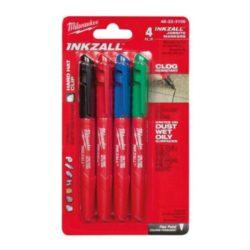 Milwaukee INKZALL™ Jelölő filc Vékony tartós (4 darabos kiszerelés, kék, piros, zöld és fekete)