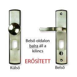Hi-Sec bizt. ajtó kilincs elfordítható gombos (bal), világítás nélkül