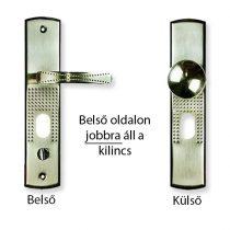 Kínai bizt. ajtó kilincs elfordítható gombos (jobb), világítás nélkül