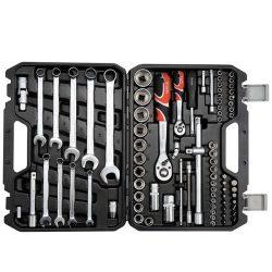 Yato YT-12691 Dugókulcs készlet 82 részes 1/2 coll: 14-24 mm, 1/4 coll: 4-14 mm CrV