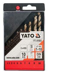 Yato YT-41603 Csigafúró készlet 10 részes HSS Co 1-10 mm