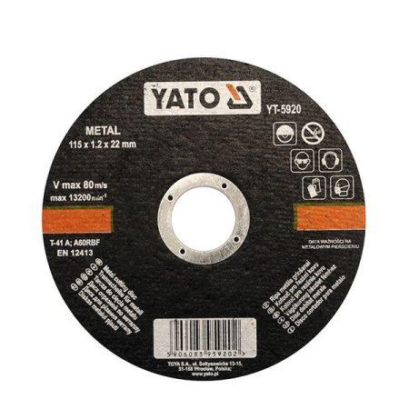 Yato YT-5920 Vágókorong fémre 115x1,2x22