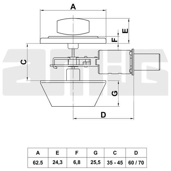 Amig AM1550 felsőzár kulcsos-fordítós réz