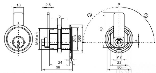 Titan K1KO13 bútorzár méretezés