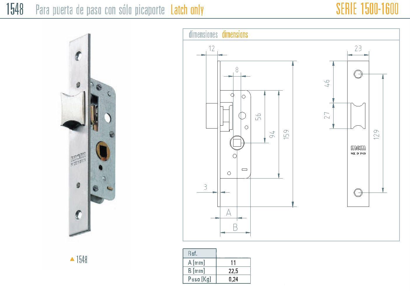 MCM 1548 Zár Méretezése