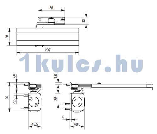 BKS ajtóbehúzó OTS 210/430 méretezése