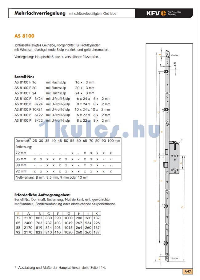 KFV AS 8100 többpontos zár méretezése