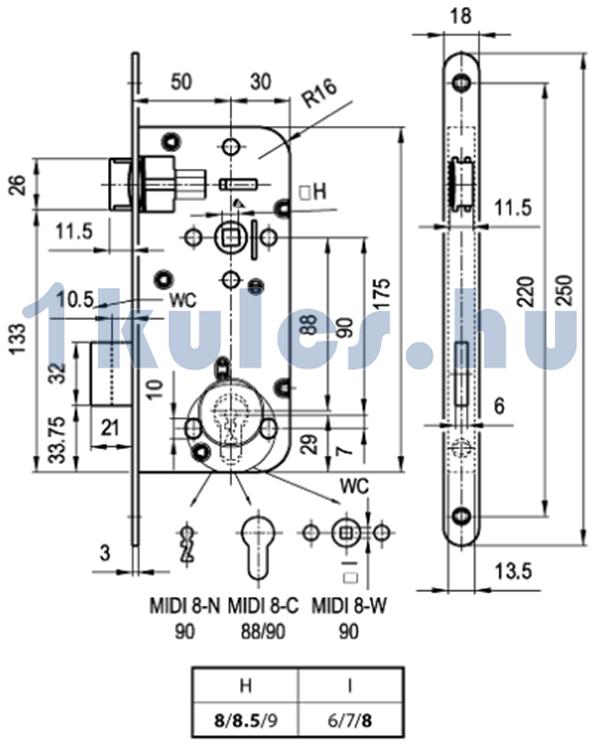 Elzett MIDI 8 cilinderes bevésőzár méretezése
